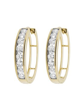 38a6e7f17 Product Image 10K Yellow Gold Real Diamonds Channel Hoop Earrings 1.0ct