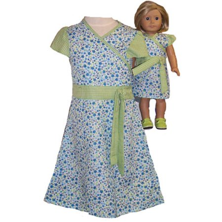 Matching Girls and Doll Green Blue Dress Size 5
