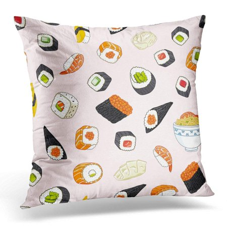 Alligator Pillow (CMFUN Green Ramen Japanese Food Pattern Orange Avocado Pillow Case Pillow Cover 20x20 inch )