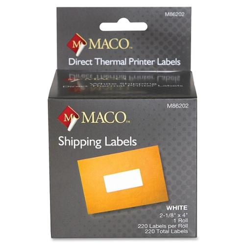 "Maco Direct Thermal Printer Labels - 2.13"" Width X 4"" Length - 1 Roll - 220/roll - Direct Thermal - Bright White (M86202)"