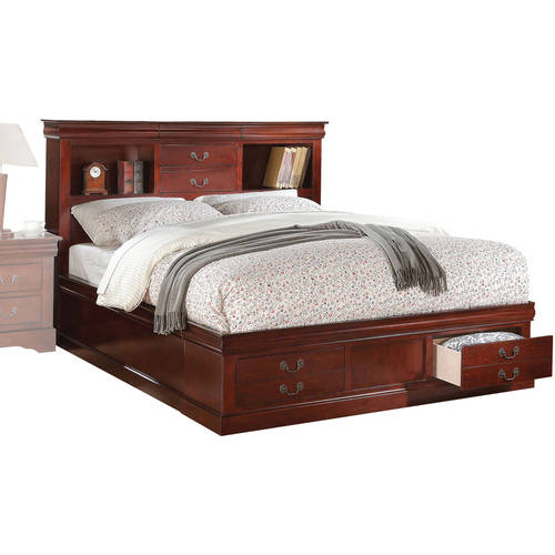 Acme Louis Philippe III California King Bed with Storage, Cherry