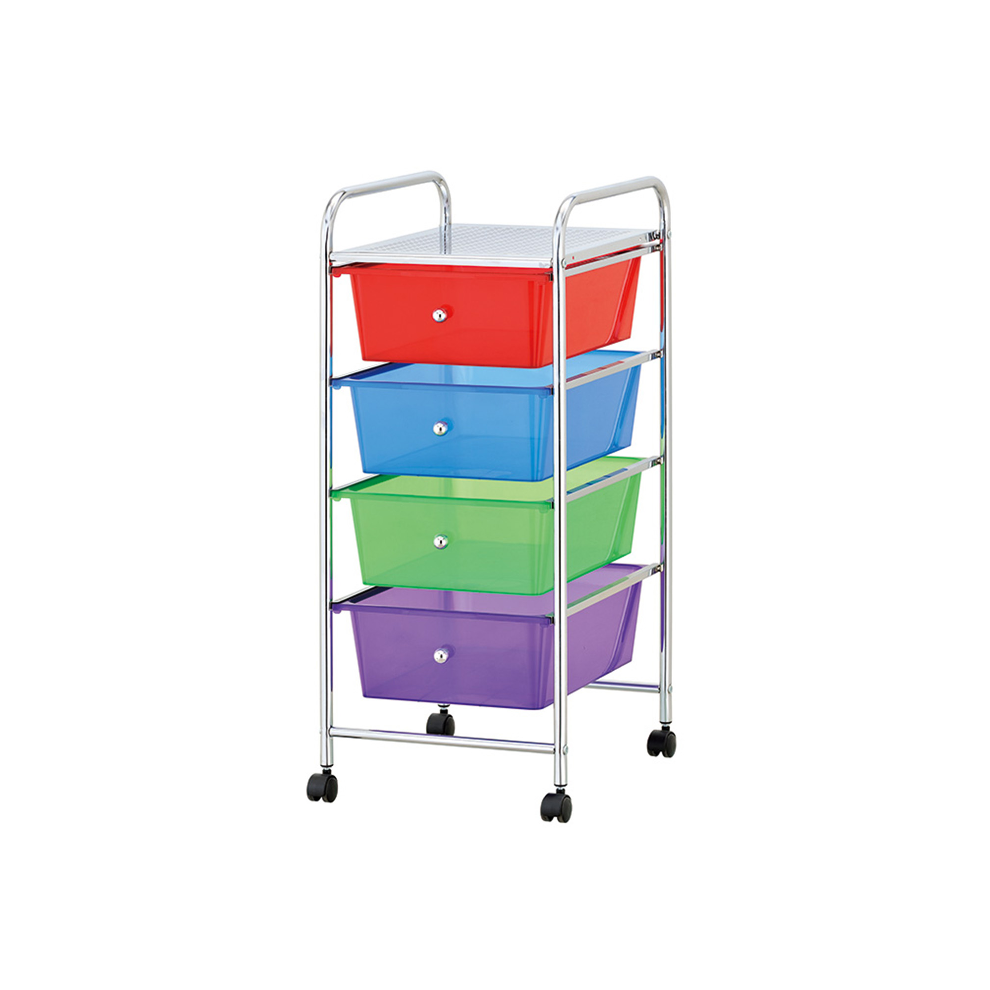 Mind Reader Rolling All Purpose Storage Cart And Organizer With 4 Plastic  Drawers, Multi Color