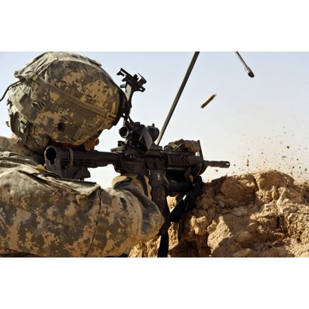 US Army soldier engages enemy forces in a small arms fire fight in Afghanistan Canvas Art - Stocktrek Images (34 x (Soldiers Fighting In Afghanistan)