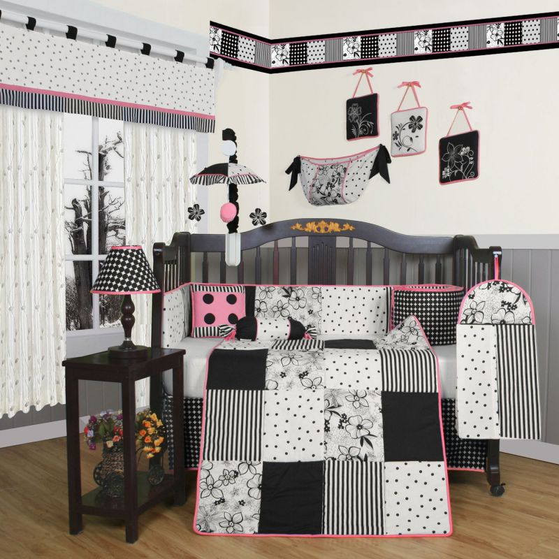 Geeny Boutique Flower and Dot 13 Piece Crib Bedding Set