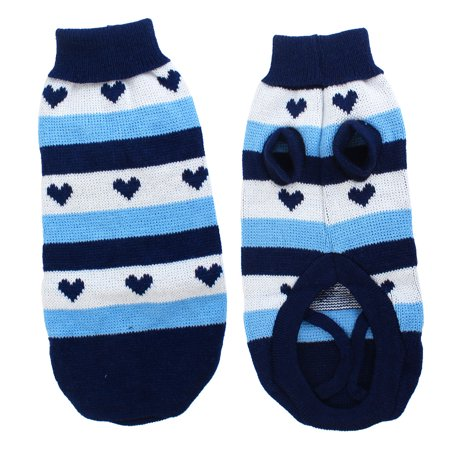 Unique Bargains Turtleneck Stripe Print Pet Dog Chihuahua Cat Apparel Sweater Blue White - Blue Pet Sweater