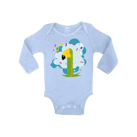 Baby Girl 1st Bday Themes (Awkward Styles Parrot One Piece 1st Birthday Baby Bodysuit Long Sleeve Birthday Gifts for 2 Year Old Baby Girl Bday Bodysuit Birthday Bodysuit for Baby Boy 2nd Birthday Party Outfit)