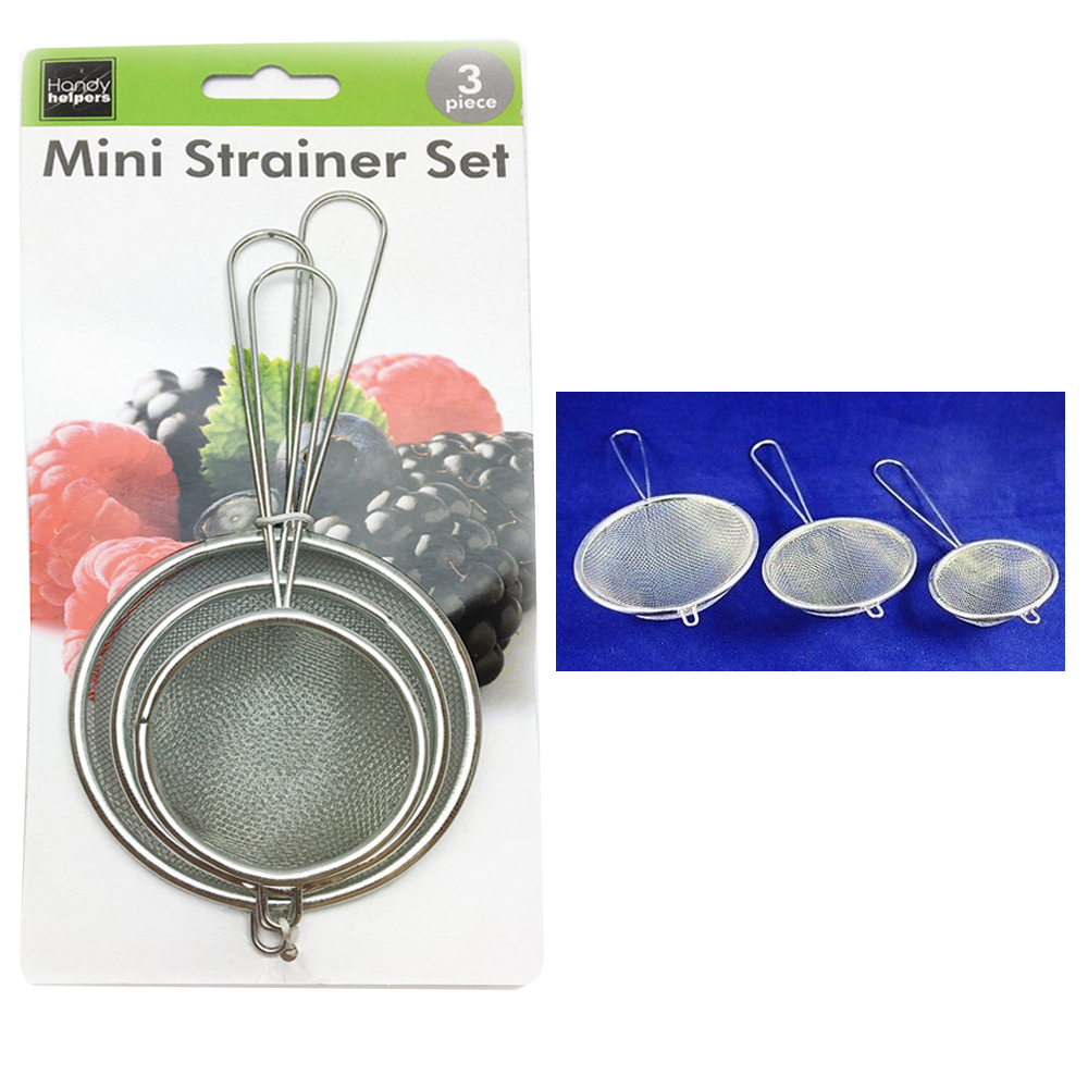 3 Pc Mini Strainer Handle Mesh Colander Sieve Flour Sifter Kitchen Food Drainer by KOLE IMPORTS