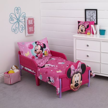 Mickey Minnie Mouse Bedding (Minnie 4 Piece Toddler Bed Set )