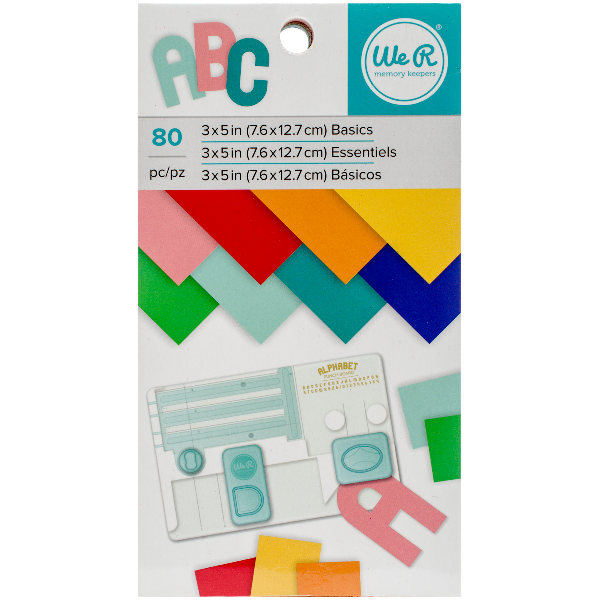 We R Memory Keepers Craft Paper Pad: Assorted Colors, 3 x 5 inches, 80 pack
