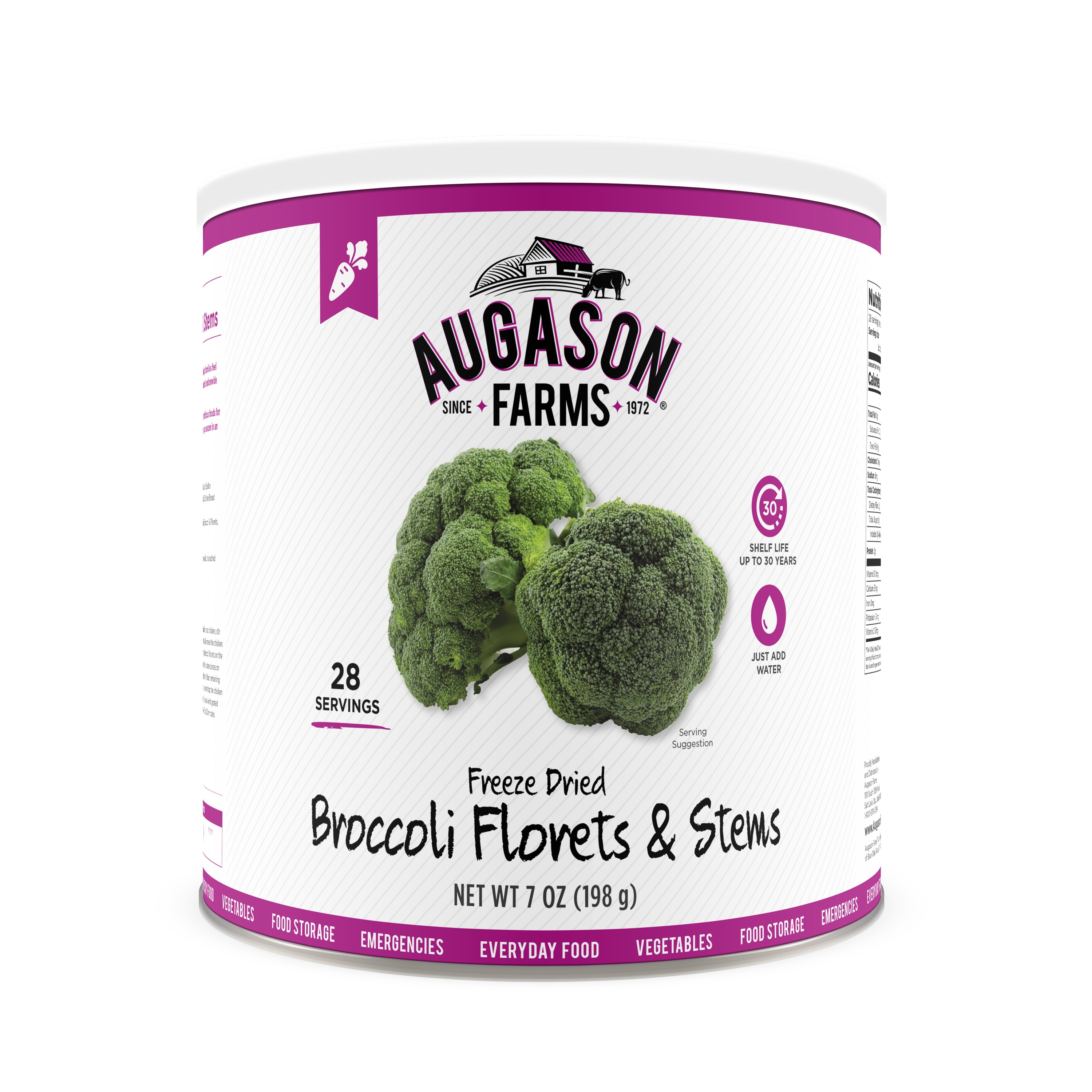 Augason Farms Freeze Dried Broccoli Florets & Stems 7 oz No. 10 Can