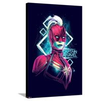 Captain Marvel - Electro Waves Stretched Canvas Print Wall Art