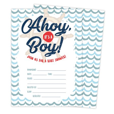 Ahoy 1 Nautical Baby Shower Invitations Invite Cards (25 Count) With Envelopes & Seal Stickers Vinyl Girl Boy