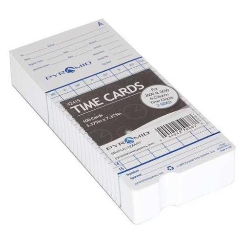 PYRAMID 42415 Time Card for 2600 Time Clock,PK 100