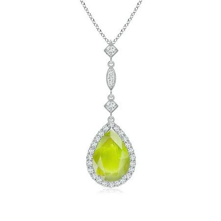 Mother's Day Jewelry - Peridot Teardrop Pendant with Diamond Accents in 14K White Gold (10x7mm Peridot) - SP0729PD-WG-A-10x7 14k Gold Peridot Drop