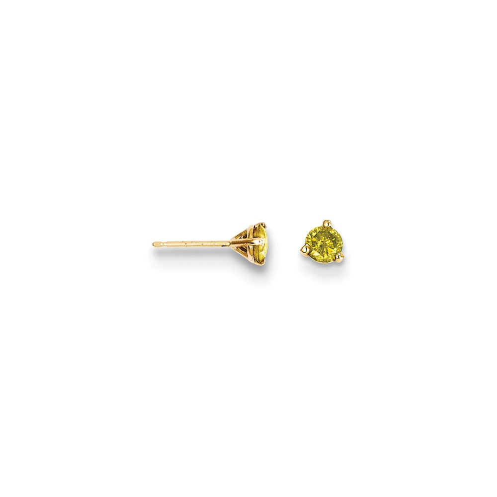 14k Yellow Gold .33ct. Yellow Diamond Stud Earrings. Carat Wt- 0.33ct (4MM)