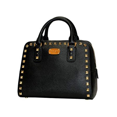 MICHAEL KORS SANDRINE STUDDED SMALL SAFFIANO LEATHER SATCHEL IN BLACK