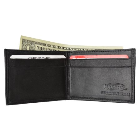 Black Lamb Leather - Children/Kids Slim Black Leather Lamb Mini Bifold Wallet 85 (C) Black