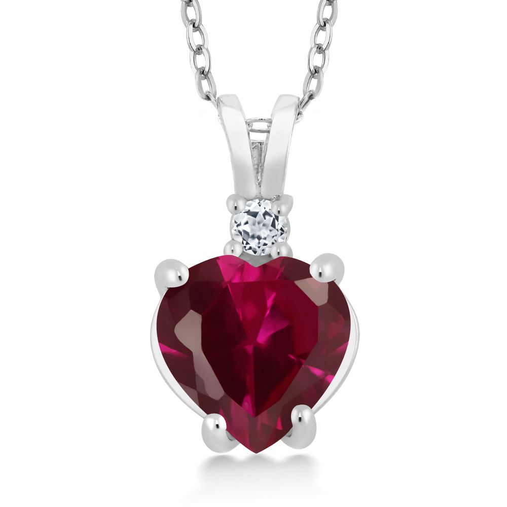 14K White Gold Heart Pendant set with 2.27 Ct Red Created Ruby & White Topaz by