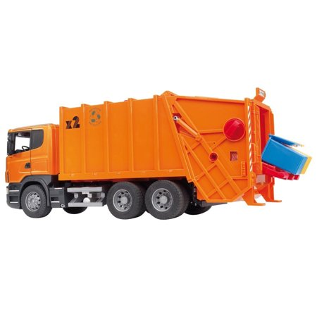 Bruder Toys Construction Car Scania R Series Garbage Truck with 4 Bins, Orange