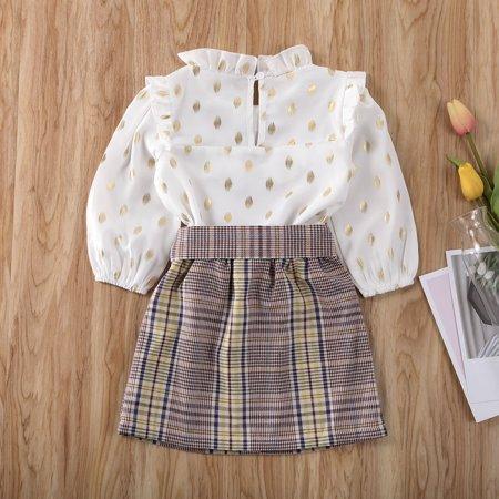 2Psc Toddler Baby Girl Fall Outfit Long Sleeve Polka Dot T-Shirt Tops High Waist Plaid Bowknot Mini Skirt Set - image 4 de 5