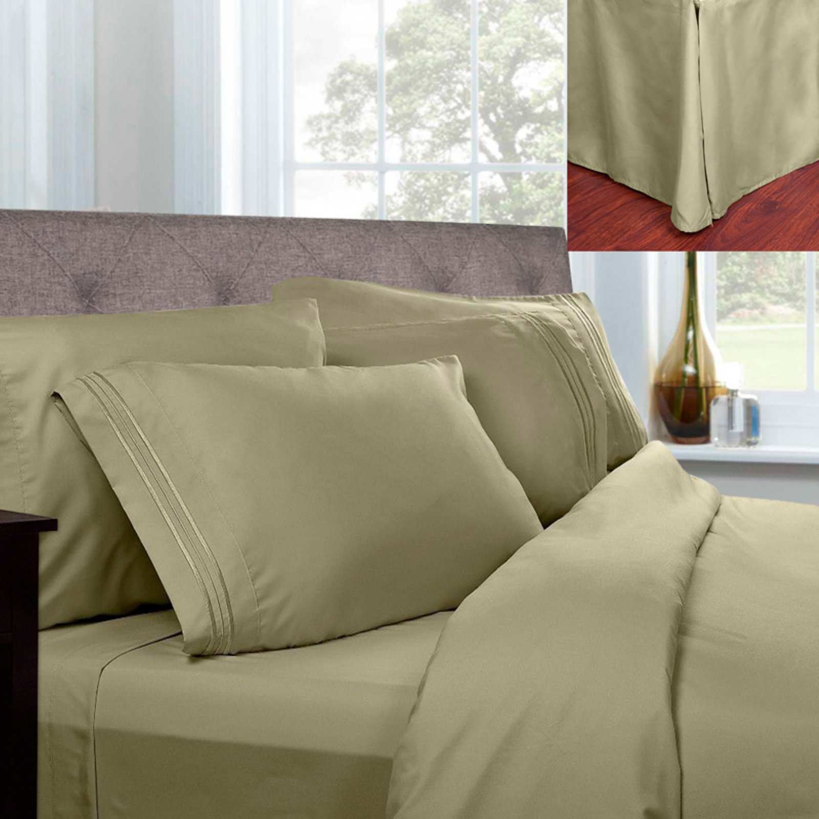 1500 Thread Count Pleated Egyptian Sheet Set with Bed Skirt by Sweet Home Collection
