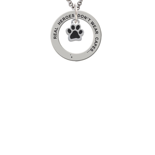 Silvertone Mini Translucent Black Paw Real Heroes Teach Affirmation Ring Necklace
