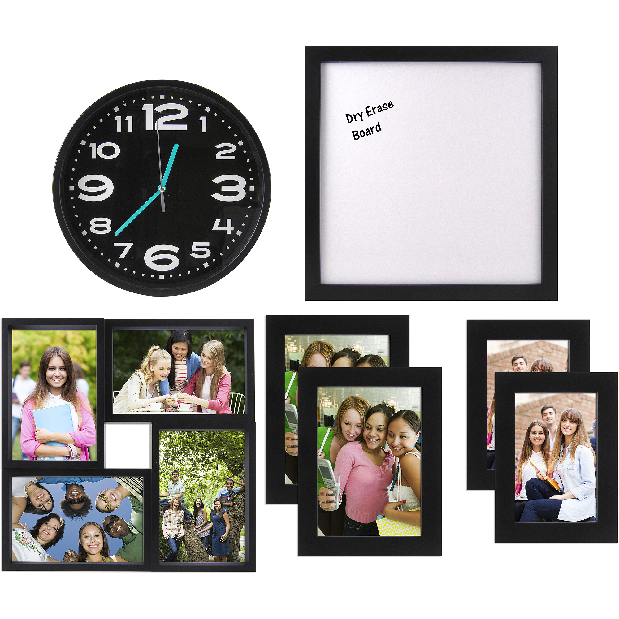 7-Piece Frame, Clock & Room Decor Solution Set - Perfect for Dorm or Small Spaces