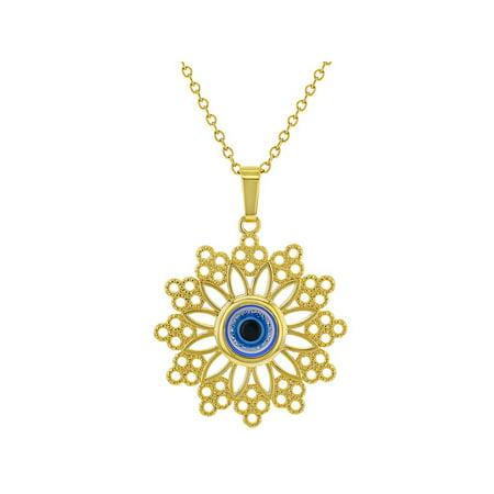 18k Gold Plated Greek Blue Evil Eye Protection Nazar Medal Pendant 19