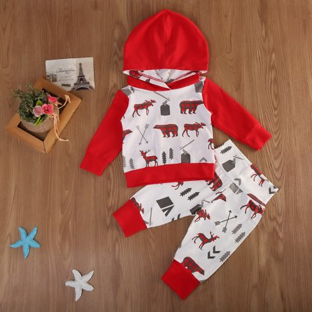 2PCS Toddler Baby Boys Camo Hooded Tops Pants Home Outfits Set Clothes thumbnail