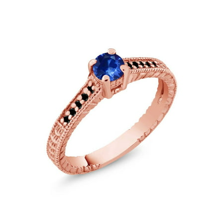 0.31 Ct Round Blue Sapphire Black Diamond 925 Rose Gold Plated Silver Ring