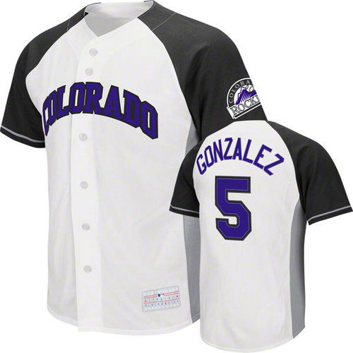MLB - Carlos Gonzalez Jersey: Adult MLB Genuine Collection White/Black #5 Colorado Rockies Jersey