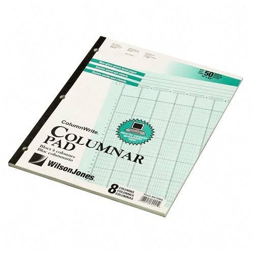 Accounting Pad 8-1//2 x 11 Eight Six-Unit Columns 50-Sheet Pad