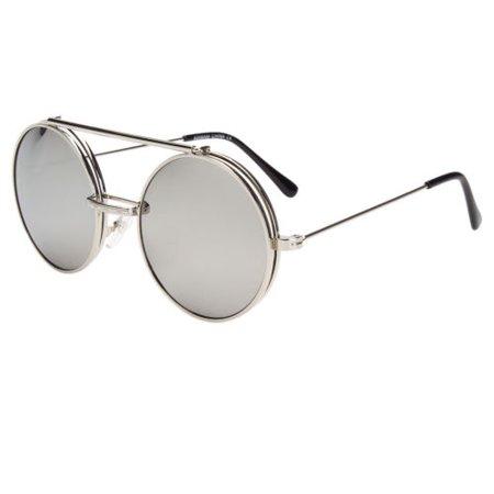 Cool Flip Up Lens Steampunk Vintage Retro Mirror Round Sunglasses Tortoise Gold