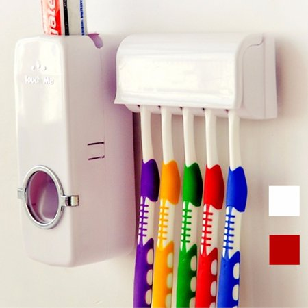 Automatic Toothpaste Dispenser + 5 Toothbrush Holder Set With Wall Mount Stand Bathroom Accessories Home Decor (Red Wings Toothbrush Holder)