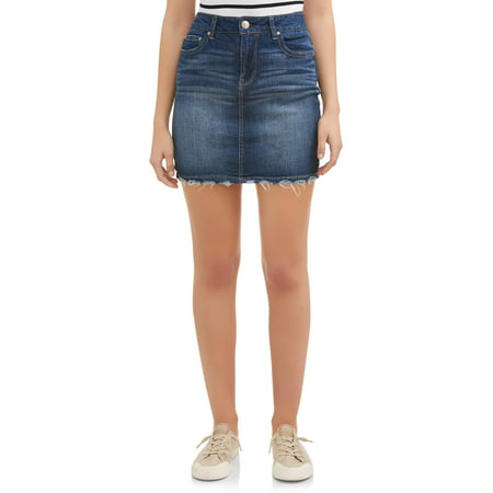Juniors Denim Mini Skirt - Juniors' Distressed Denim Mini Skirt