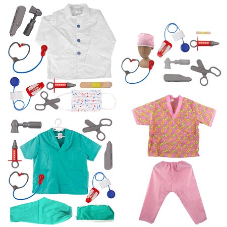 TopTie Doctor Nurse Role Play Set Dress Up Surgeon Costumes Set For Kids Great Gift Idea-3 Sets-S