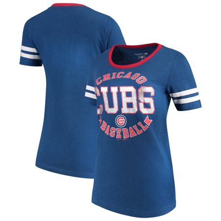 Chicago Cubs 5th & Ocean by New Era Women's Slub Jersey Scoop Neck Sleeve Stripes T-Shirt -