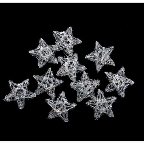 Set of 10 LED Lighted Battery Operated Spun Glass Star Christmas Lights - Warm Clear