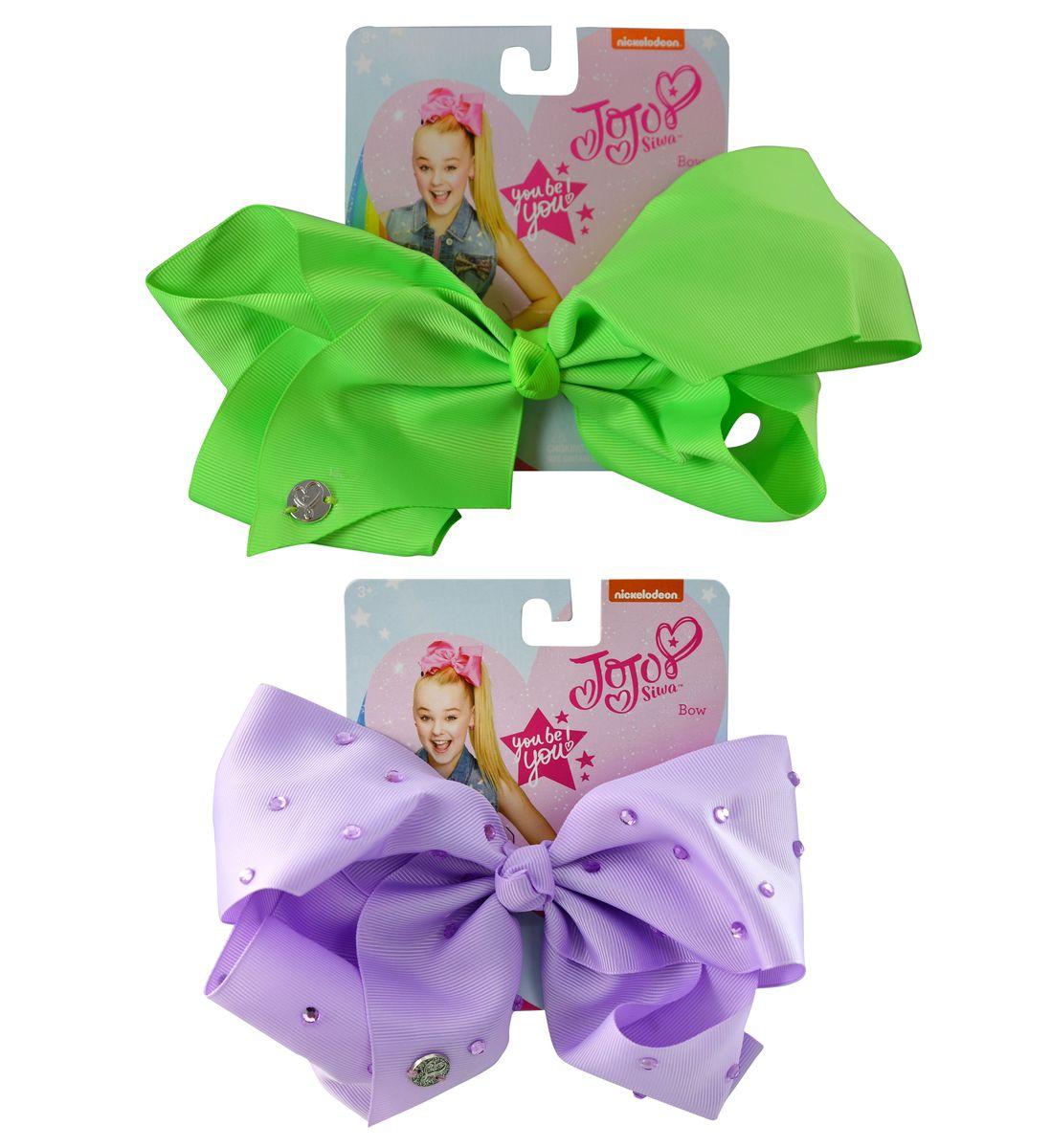 Jojo Siwa Large Neon Green and Purple Rhinestone Signature Bows (2 Items)