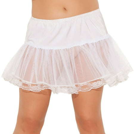 Elegant Moments EM-9372X Lace trim petticoat Plus Sizes Q/S / WHITE (Lace Petticoat)