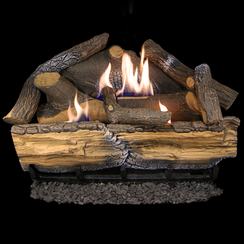 Cedar Ridge Hearth Recon 24-in 32,000-BTU Dual-Burner Ventless Gas Fireplace Logs with Thermostat