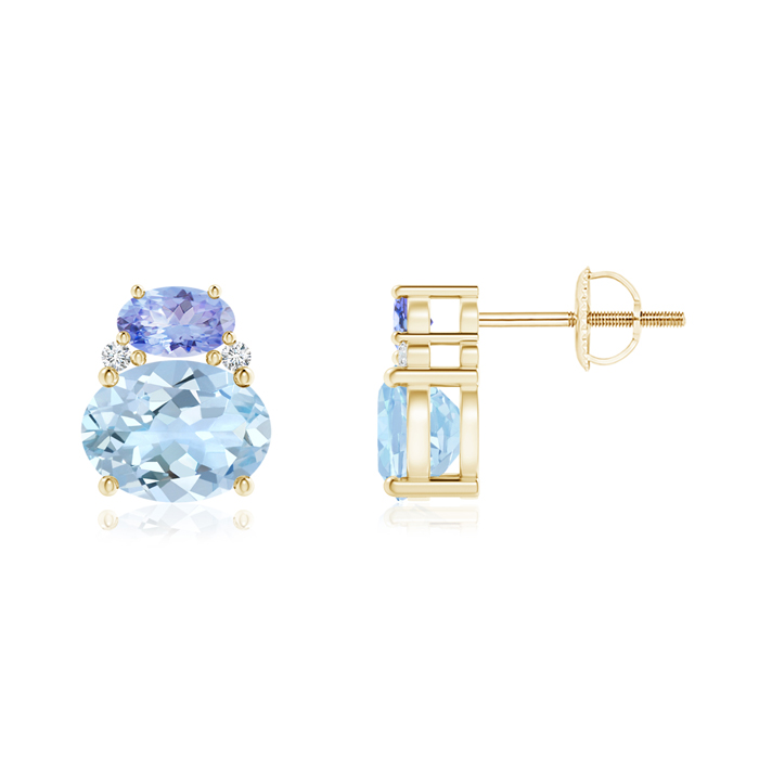 Angara Oval Aquamarine and Diamond Stud Earrings in Yellow Gold Vjb7Gfx
