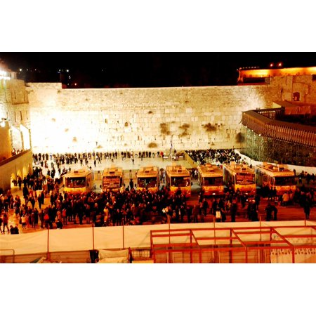 Wailing Wall Framed (Framed Art For Your Wall Mitzvah Tanks at the Wailing Wall during the Chanukah Parade 10x13)