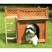 "Zoovilla Room with a View Wooden Dog House, Small, 10""x11"", Cedar Stain"