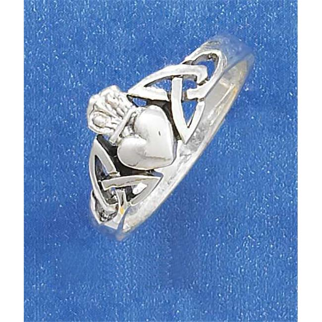 Plum Island Silver SR-2649-07 Sterling Silver Celtic Claddagh Ring with Surrounding Knot Work Design - Size 7