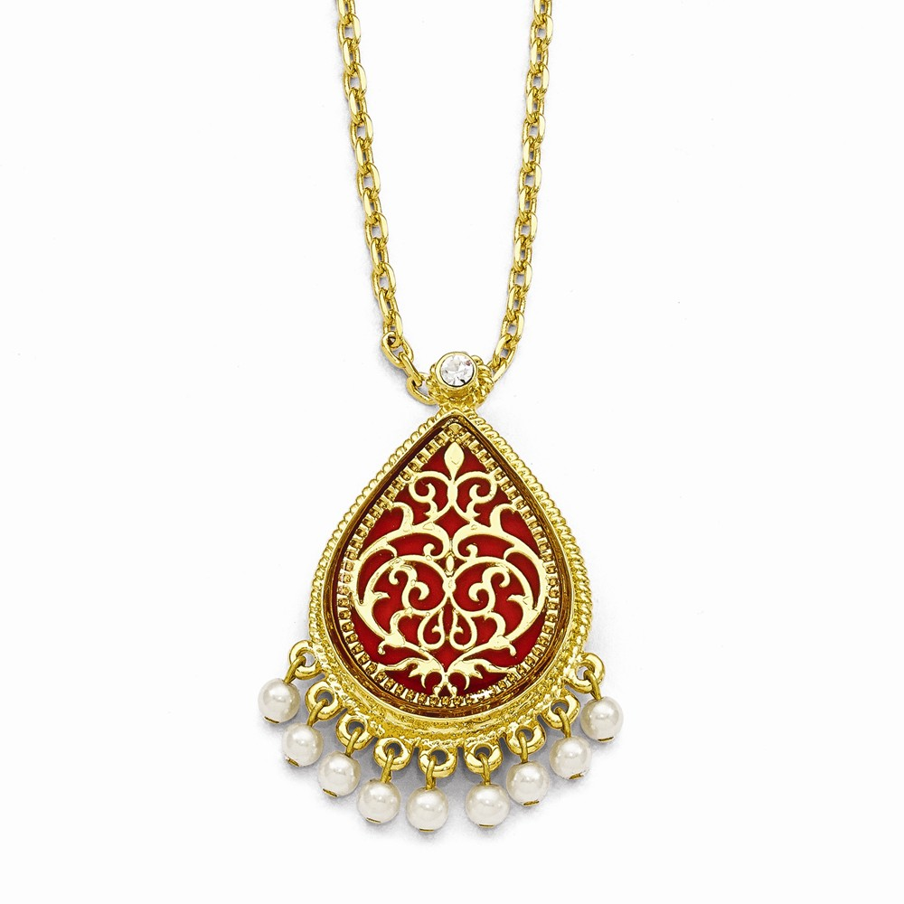 Gold-plated Enamel 17In with 3In ext French Moroccan Pin/Pendant