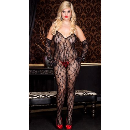 Music Legs Women's Plus Size Lace Crossed Back Bodystocking Black Queen - Bodystocking Lace