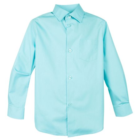 Spring Notion Boy's Cotton Blend Long Sleeve Dress Shirt - White Dress Shirt Boys