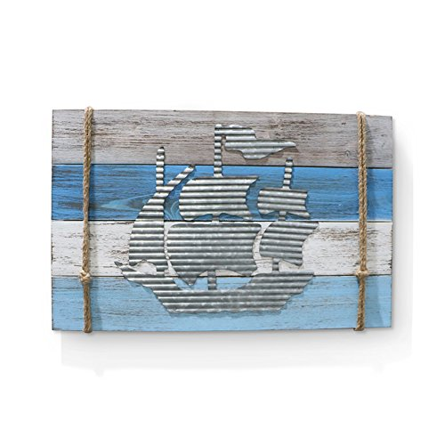"Barnyard Designs Nautical Wooden Plaque with Sailor Rope and Corrugated SHeet Metal Sailboat Cutout, 22"" x 14""... by Barnyard Designs"