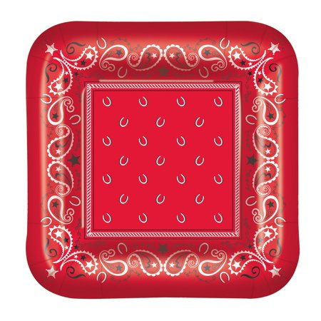 Pack of 96 Disposable Red Paisley-Designed Bandana Square Dinner Plates 9